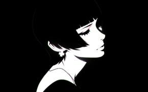 Picture eyelashes, haircut, black and white, neck, bangs, closed eyes, portrait of a girl, Ilya Kuvshinov, ...
