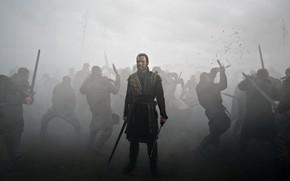 Picture sword, war, dead, fog, movie, ken, blade, death, film, Michael Fassbender, king, Macbeth, inema