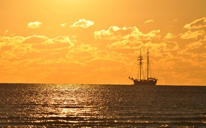 Picture summer, sea, ocean, seascape, ship, horizon, sunny, sailing