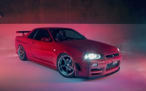 Wallpaper GTR, RED, Nissan, R34, Skylilne