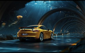 Wallpaper Underwater road, Porsche, the tunnel, Dmitriy Glazyrin, making of