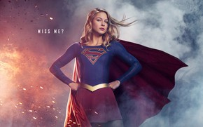Picture background, fiction, smoke, sparks, blonde, costume, the series, beauty, poster, comic, 2018, TV Series, Supergirl, …