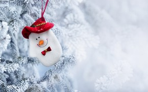 Picture winter, snow, toy, tree, New Year, Christmas, snowman, Christmas, winter, snow, Merry Christmas, Xmas, snowman, …