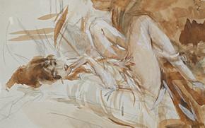 Picture figure, watercolor, Giovanni Boldini, Giovanni Boldini, Lying Lady