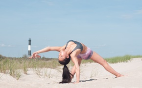Wallpaper sand, workout, yoga, pose