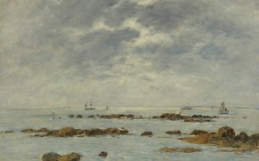 Picture sea, clouds, boat, picture, sail, Eugene Boudin, Eugene Boudin, Seascape at Saint-Vaast-La-Hougue