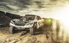 Picture The sky, Sand, Sport, Speed, Light, Race, Peugeot, Lights, Red Bull, Rally, Rally, Sport, The …