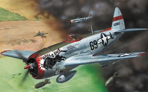 Picture art, Thunderbolt, USAF, fighter-bomber, WW2, Republic, Jug, P-47D-30, T-bolt, Heavy fighter