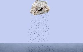 Picture letters, rain, newspaper