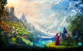 Picture Mountains, Dragon, Mill, Castle, Clouds, Horse, Magic, Staff, Plarium, Stormfall Age of War