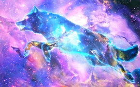 Wallpaper nebula, space, wolf