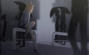 Picture girl, rain, anime, art, Vocaloid, Vocaloid