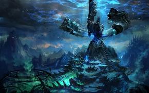 Wallpaper Fiction, darkness, Val Kaeli, ieroglify, mountains, energy, TERA online, the world