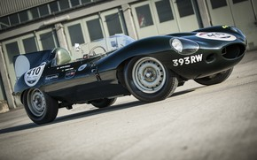 Picture the building, Jaguar, car, Playground, sports, D-Type