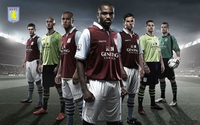 Picture wallpaper, sport, logo, stadium, football, players, Aston Villa FC, Villa Park