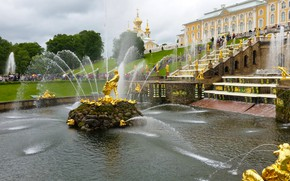 Picture summer, fountains, Palace, sculpture, tourists, Peterhof