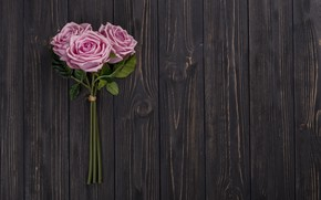 Picture flowers, roses, bouquet, pink, wood, pink, flowers, roses