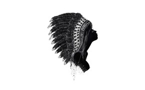 Picture girl, face, feathers, profile, headdress