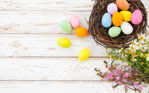 Picture flowers, basket, eggs, spring, colorful, Easter, wood, flowers, spring, Easter, eggs, decoration, Happy, tender