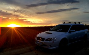 Picture wheat, sunset, Subaru, wheat field, Subaru turbo