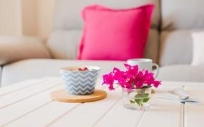 Picture flowers, berries, coffee, bouquet, Breakfast, vase, oatmeal