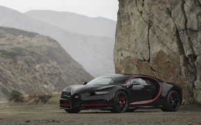 Picture Bugatti, Black, Turbo, RED, V16, VAG, Chiron