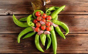 Picture Board, pepper, vegetables, wet, tomatoes, the view from the top, garlic, bottle