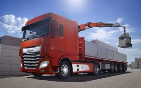 Picture red, composition, material, body, DAF, tractor, DAF, loading, the trailer, crane, 4x2, Euro6, CMU, DAF ...
