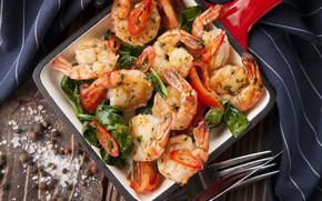 Picture shrimp, spices, Basil