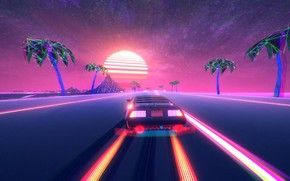 Picture Road, Stars, The game, Neon, Machine, DeLorean DMC-12, DeLorean, Electronic, Synthpop, Darkwave, Retrowave, Synth-pop, Synthwave, …