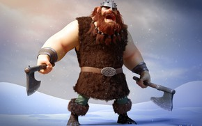 Picture winter, snow, art, Viking, rico cilliers, Ready for Anything