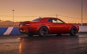 Picture Challenger, red, sportcar, 2018, musclecar, SRT, Track, Demon, Drag Racing