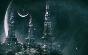 Picture planet, stars, facilities, tower, colony