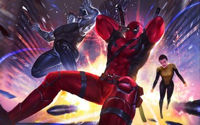 Picture fiction, art, Deadpool, comic, superheroes, Colossus, MARVEL, Teenage Warhead