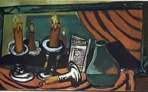 Picture 1930, Vanguard, Expressionism, Max Beckmann, Still life with candles and mirror