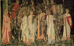Picture Sir Edward Burne-Jones, Holy Grail, and Departure, Tapestry The Arming