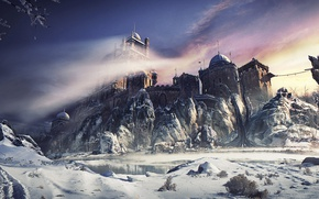 Picture the sky, water, snow, trees, mountains, castle, fortress, winter castle