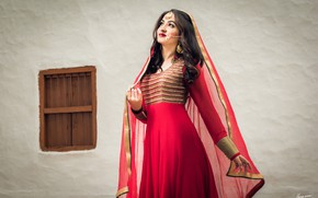 Picture Red, Model, Smile, Eyes, Golden, Princess, Colors, Photography, Indian, accessories, Mood, Window, Red Dress, Makeup, …