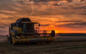 Picture field, sunset, harvester