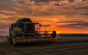 Wallpaper sunset, harvester, field