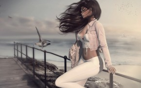 Picture sea, girl, figure, the wind, face, hair