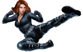 Wallpaper Avengers, Black Widow, Scarlett Johansson, pose, Martial Arts