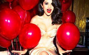 Picture balls, joy, pose, makeup, dress, brunette, hairstyle, red, singer, air, beauty, photoshoot, Selena Gomez, Selena …