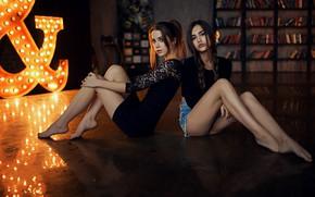 Wallpaper bokeh, black dress, lips, portrait, looking at camera, Sergey Fat, Ksenia Kokoreva, barefoot, models, mouth, ...