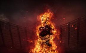 Picture wallpaper, sport, fire, stadium, football, player, AS Roma, The Olympic Stadium, Radja Nainggolan