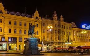 Picture night, lights, home, area, lights, monument, rider, Croatia, Zagreb