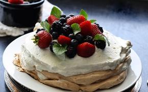 Picture berries, food, blueberries, cream, strawberry, pancakes, mint, cream, cakes, BlackBerry, sweet, pancake