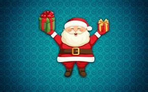 Picture Winter, Minimalism, New Year, Christmas, Background, Santa, Holiday, Santa Claus, Gifts, Santa Claus
