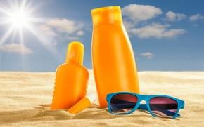 Picture sand, sea, beach, the sun, glasses, summer, beach, sand, vacation