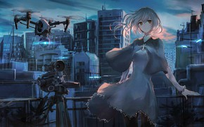 Picture the sky, girl, clouds, sunset, the city, home, anime, robots, art, the camera, ruins, swav-coco, …